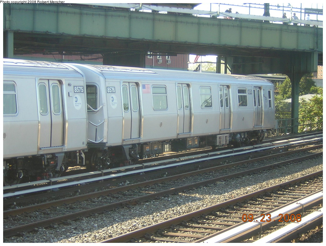 (282k, 1044x788)<br><b>Country:</b> United States<br><b>City:</b> New York<br><b>System:</b> New York City Transit<br><b>Location:</b> East New York Yard/Shops<br><b>Car:</b> R-160A-1 (Alstom, 2005-2008, 4 car sets)  8576 <br><b>Photo by:</b> Robert Mencher<br><b>Date:</b> 9/23/2008<br><b>Viewed (this week/total):</b> 0 / 1323