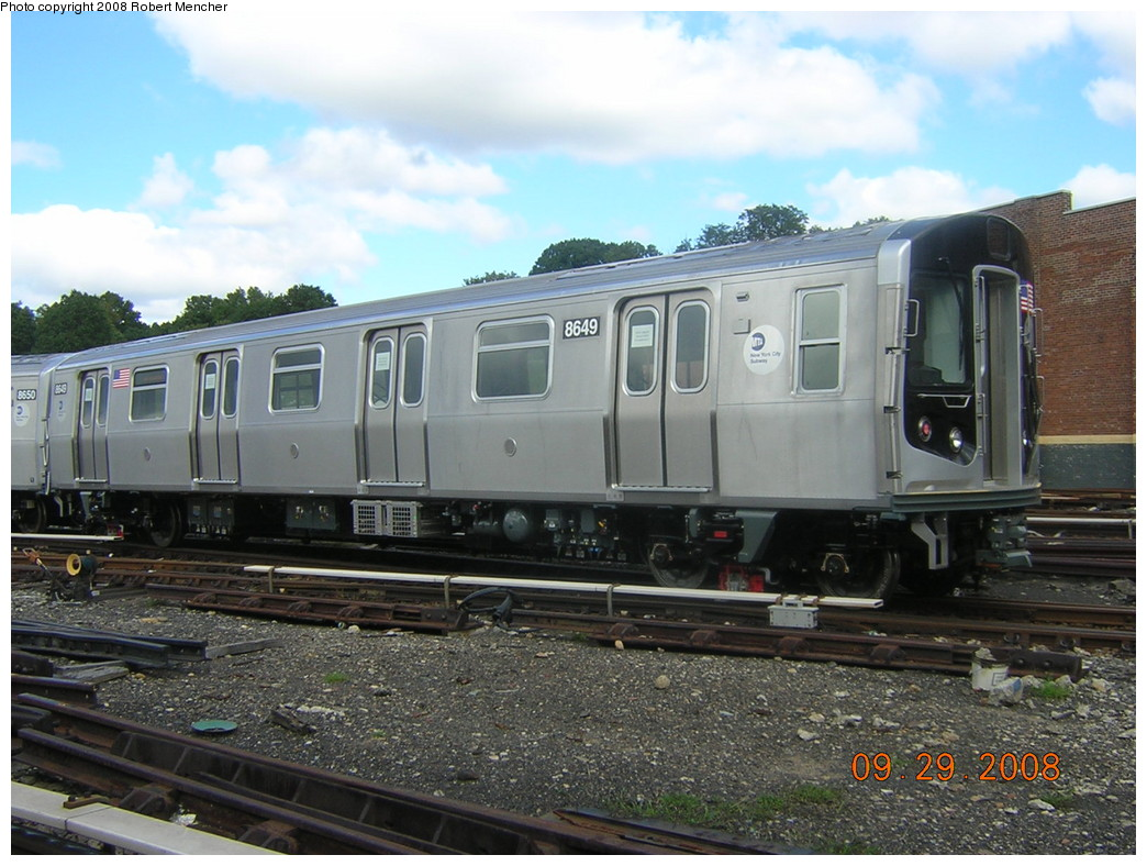 (253k, 1044x788)<br><b>Country:</b> United States<br><b>City:</b> New York<br><b>System:</b> New York City Transit<br><b>Location:</b> East New York Yard/Shops<br><b>Car:</b> R-160A-1 (Alstom, 2005-2008, 4 car sets)  8649 <br><b>Photo by:</b> Robert Mencher<br><b>Date:</b> 9/29/2008<br><b>Viewed (this week/total):</b> 1 / 920