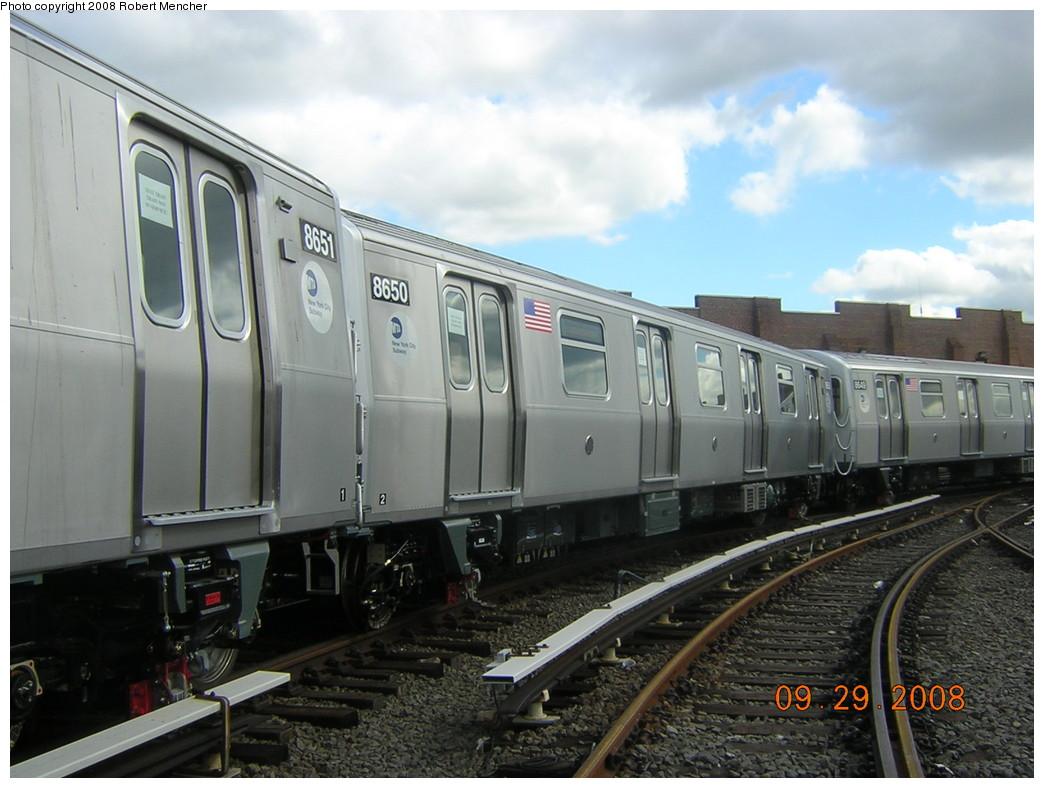 (226k, 1044x788)<br><b>Country:</b> United States<br><b>City:</b> New York<br><b>System:</b> New York City Transit<br><b>Location:</b> East New York Yard/Shops<br><b>Car:</b> R-160A-1 (Alstom, 2005-2008, 4 car sets)  8650 <br><b>Photo by:</b> Robert Mencher<br><b>Date:</b> 9/29/2008<br><b>Viewed (this week/total):</b> 0 / 1640