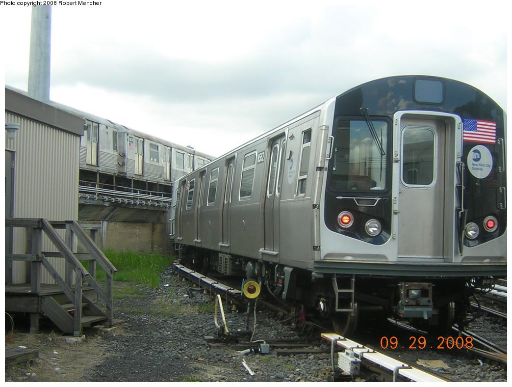 (228k, 1044x788)<br><b>Country:</b> United States<br><b>City:</b> New York<br><b>System:</b> New York City Transit<br><b>Location:</b> East New York Yard/Shops<br><b>Car:</b> R-160A-1 (Alstom, 2005-2008, 4 car sets)  8552 <br><b>Photo by:</b> Robert Mencher<br><b>Date:</b> 9/29/2008<br><b>Viewed (this week/total):</b> 1 / 1191