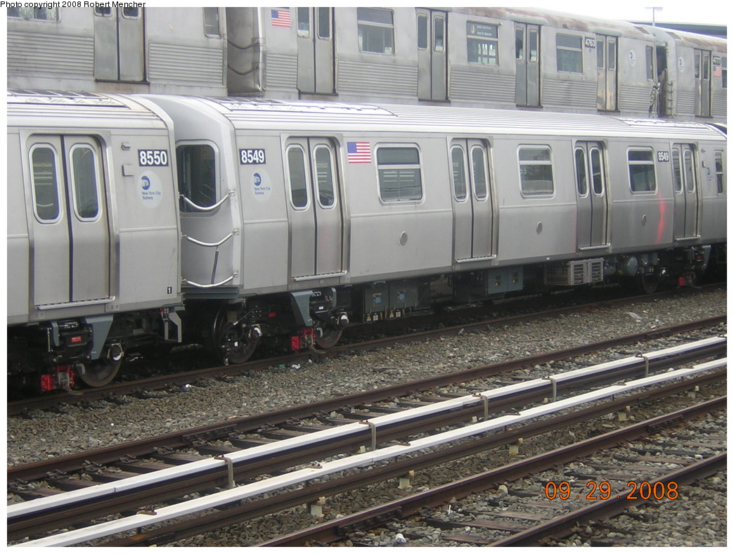 (276k, 1044x788)<br><b>Country:</b> United States<br><b>City:</b> New York<br><b>System:</b> New York City Transit<br><b>Location:</b> East New York Yard/Shops<br><b>Car:</b> R-160A-1 (Alstom, 2005-2008, 4 car sets)  8549 <br><b>Photo by:</b> Robert Mencher<br><b>Date:</b> 9/29/2008<br><b>Viewed (this week/total):</b> 0 / 1424