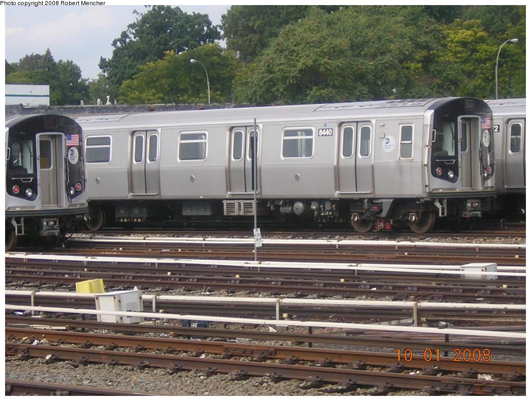 (276k, 1044x788)<br><b>Country:</b> United States<br><b>City:</b> New York<br><b>System:</b> New York City Transit<br><b>Location:</b> East New York Yard/Shops<br><b>Car:</b> R-160A-1 (Alstom, 2005-2008, 4 car sets)  8440 <br><b>Photo by:</b> Robert Mencher<br><b>Date:</b> 10/1/2008<br><b>Viewed (this week/total):</b> 0 / 1265