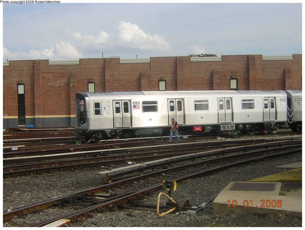 (263k, 1044x788)<br><b>Country:</b> United States<br><b>City:</b> New York<br><b>System:</b> New York City Transit<br><b>Location:</b> East New York Yard/Shops<br><b>Car:</b> R-160A-1 (Alstom, 2005-2008, 4 car sets)  8649 <br><b>Photo by:</b> Robert Mencher<br><b>Date:</b> 10/1/2008<br><b>Viewed (this week/total):</b> 0 / 1348