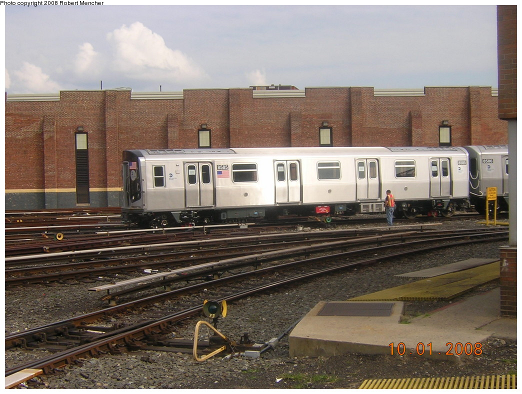 (270k, 1044x788)<br><b>Country:</b> United States<br><b>City:</b> New York<br><b>System:</b> New York City Transit<br><b>Location:</b> East New York Yard/Shops<br><b>Car:</b> R-160A-1 (Alstom, 2005-2008, 4 car sets)  8585 <br><b>Photo by:</b> Robert Mencher<br><b>Date:</b> 10/1/2008<br><b>Viewed (this week/total):</b> 1 / 1295