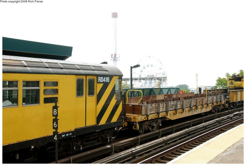 (148k, 1044x706)<br><b>Country:</b> United States<br><b>City:</b> New York<br><b>System:</b> New York City Transit<br><b>Line:</b> BMT Brighton Line<br><b>Location:</b> West 8th Street <br><b>Route:</b> Work Service<br><b>Car:</b> R-161 Rider Car (ex-R-33)  RD416 (ex-8964)<br><b>Photo by:</b> Richard Panse<br><b>Date:</b> 9/13/2008<br><b>Viewed (this week/total):</b> 0 / 1470