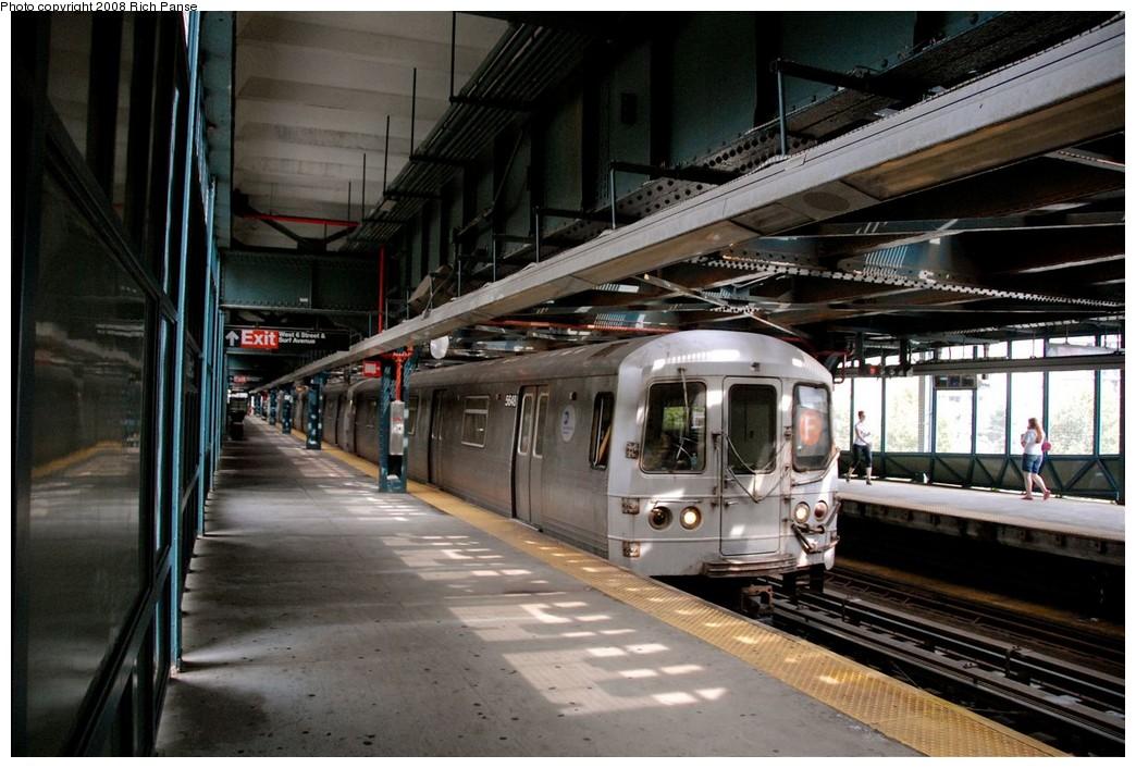 (199k, 1044x706)<br><b>Country:</b> United States<br><b>City:</b> New York<br><b>System:</b> New York City Transit<br><b>Line:</b> BMT Culver Line<br><b>Location:</b> West 8th Street <br><b>Route:</b> F<br><b>Car:</b> R-46 (Pullman-Standard, 1974-75) 5648 <br><b>Photo by:</b> Richard Panse<br><b>Date:</b> 9/13/2008<br><b>Viewed (this week/total):</b> 0 / 1792