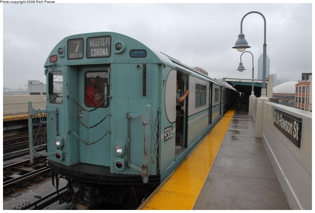 (169k, 1044x706)<br><b>Country:</b> United States<br><b>City:</b> New York<br><b>System:</b> New York City Transit<br><b>Line:</b> IRT Flushing Line<br><b>Location:</b> 33rd Street/Rawson Street <br><b>Route:</b> Museum Train Service (7)<br><b>Car:</b> R-33 World's Fair (St. Louis, 1963-64) 9306 <br><b>Photo by:</b> Richard Panse<br><b>Date:</b> 9/28/2008<br><b>Viewed (this week/total):</b> 1 / 1308