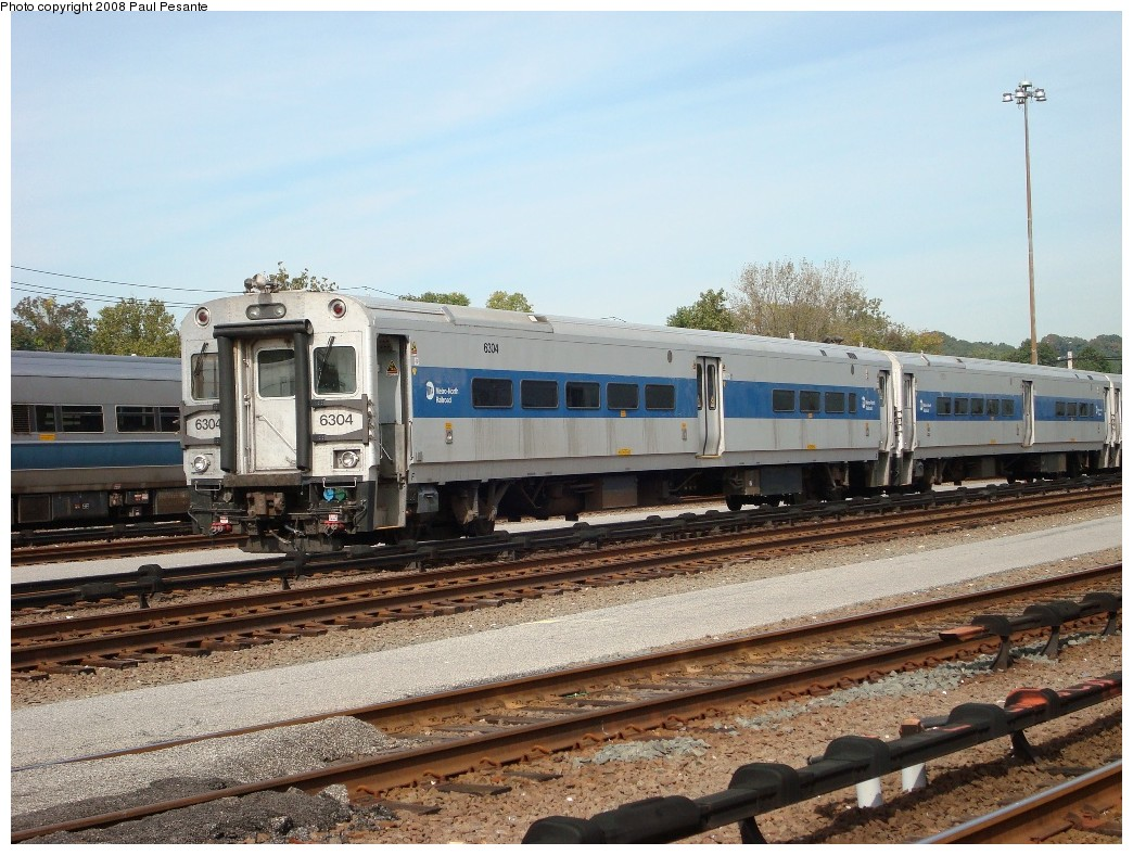 (241k, 1044x788)<br><b>Country:</b> United States<br><b>System:</b> Metro-North Railroad (or Amtrak or Predecessor RR)<br><b>Line:</b> Metro North-Harlem Line<br><b>Location:</b> North White Plains Yard <br><b>Car:</b> MNRR/CDOT Shoreliner (Bombardier) 6304 <br><b>Photo by:</b> Paul Pesante<br><b>Date:</b> 10/8/2008<br><b>Notes:</b> Bombardier Shoreliner II Cab Car 6304, coupled up to Cab Car 6320 on the south end of an all-Shoreliner II center-door consist on Track 15 at North White Plains Yard. The photographer is a railroad employee on railroad property with permission, and would like to remind everyone to keep railfanning legal and safe- Do not enter restricted areas!<br><b>Viewed (this week/total):</b> 1 / 1154