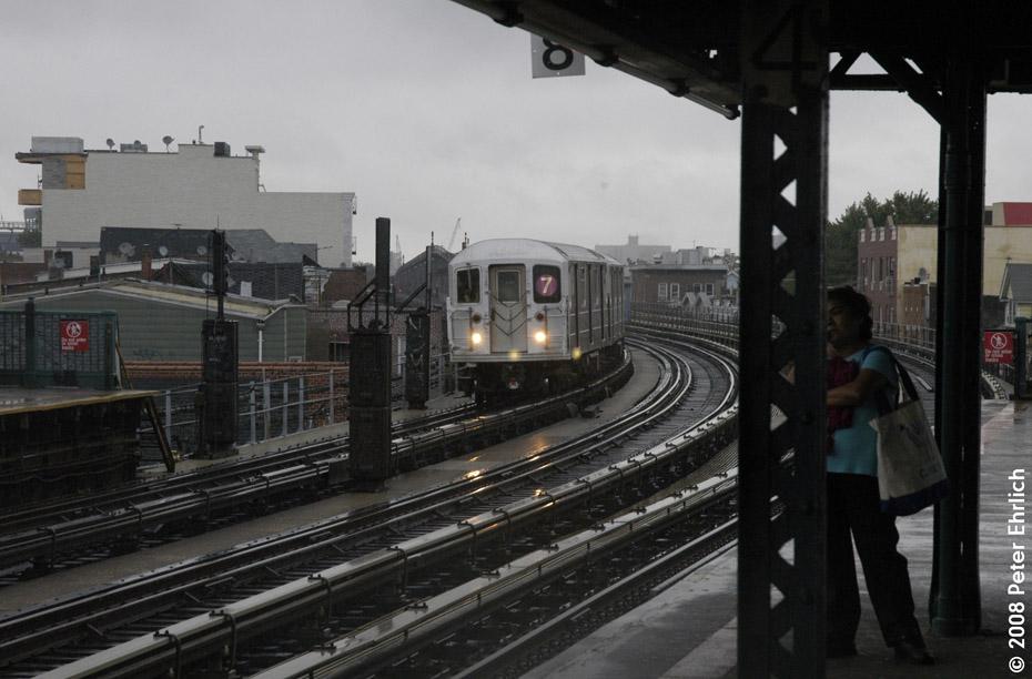 (171k, 930x612)<br><b>Country:</b> United States<br><b>City:</b> New York<br><b>System:</b> New York City Transit<br><b>Line:</b> IRT Flushing Line<br><b>Location:</b> 103rd Street/Corona Plaza <br><b>Route:</b> 7<br><b>Car:</b> R-62A (Bombardier, 1984-1987)  1656 <br><b>Photo by:</b> Peter Ehrlich<br><b>Date:</b> 9/28/2008<br><b>Notes:</b> 103 St-Corona Plaza, inbound train.<br><b>Viewed (this week/total):</b> 0 / 1313