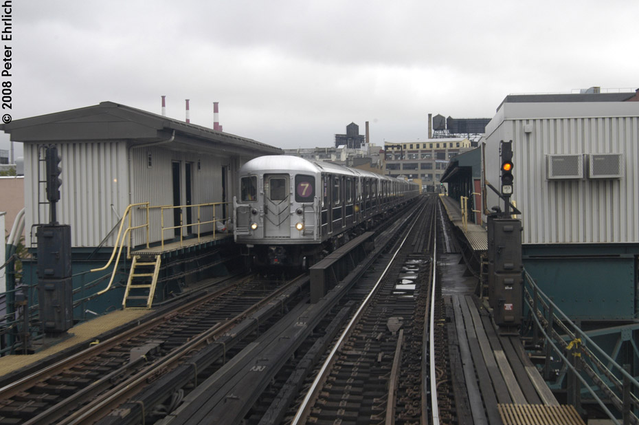 (171k, 930x618)<br><b>Country:</b> United States<br><b>City:</b> New York<br><b>System:</b> New York City Transit<br><b>Line:</b> IRT Flushing Line<br><b>Location:</b> Court House Square/45th Road <br><b>Route:</b> 7<br><b>Car:</b> R-62A (Bombardier, 1984-1987)  1805 <br><b>Photo by:</b> Peter Ehrlich<br><b>Date:</b> 9/28/2008<br><b>Notes:</b> Inbound.<br><b>Viewed (this week/total):</b> 1 / 1446