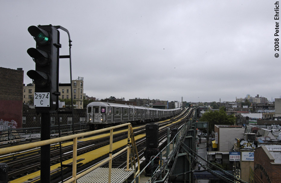 (175k, 930x608)<br><b>Country:</b> United States<br><b>City:</b> New York<br><b>System:</b> New York City Transit<br><b>Line:</b> IRT Flushing Line<br><b>Location:</b> 69th Street/Fisk Avenue <br><b>Route:</b> 7<br><b>Car:</b> R-62A (Bombardier, 1984-1987)  2135 <br><b>Photo by:</b> Peter Ehrlich<br><b>Date:</b> 9/28/2008<br><b>Notes:</b> 69 Street-Fisk Avenue, outbound train.<br><b>Viewed (this week/total):</b> 2 / 1300