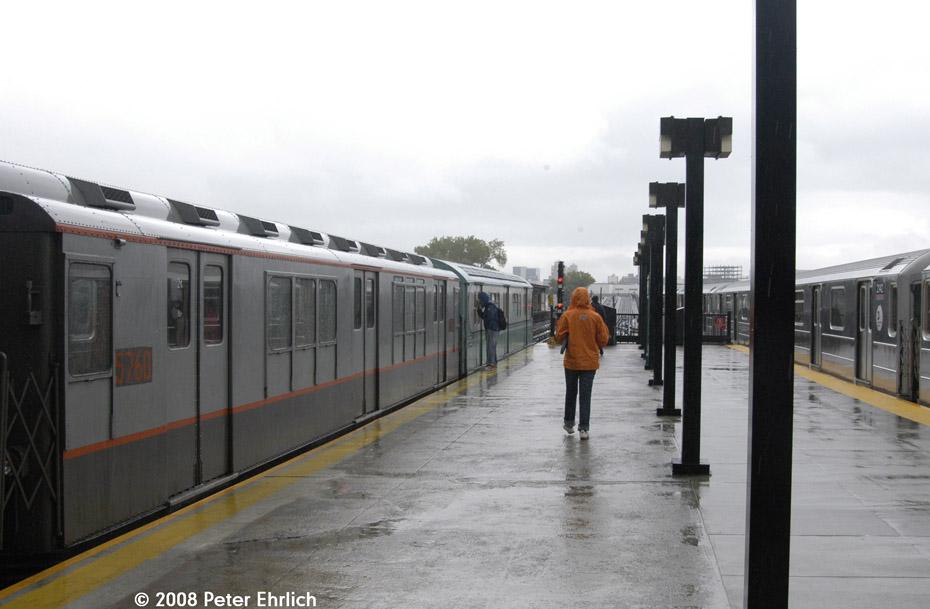 (148k, 930x609)<br><b>Country:</b> United States<br><b>City:</b> New York<br><b>System:</b> New York City Transit<br><b>Line:</b> IRT Flushing Line<br><b>Location:</b> Willets Point/Mets (fmr. Shea Stadium) <br><b>Route:</b> Museum Train Service (7)<br><b>Car:</b> R-12 (American Car & Foundry, 1948) 5760 <br><b>Photo by:</b> Peter Ehrlich<br><b>Date:</b> 9/28/2008<br><b>Notes:</b> Willets Point Blvd. Station.  With 2142 outbound.<br><b>Viewed (this week/total):</b> 0 / 1190