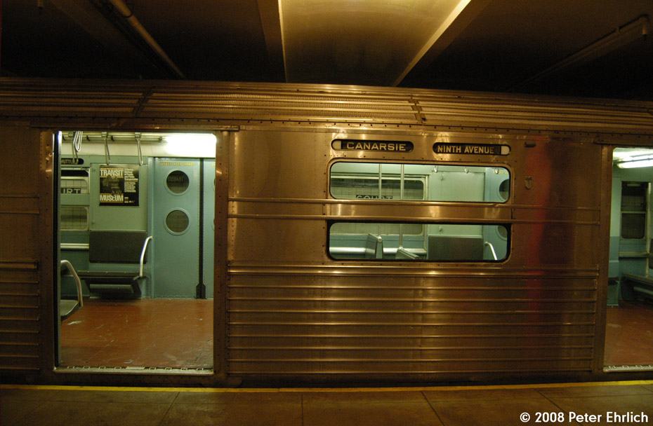 (189k, 930x608)<br><b>Country:</b> United States<br><b>City:</b> New York<br><b>System:</b> New York City Transit<br><b>Location:</b> New York Transit Museum<br><b>Car:</b> R-11 (Budd, 1949) 8013 <br><b>Photo by:</b> Peter Ehrlich<br><b>Date:</b> 9/30/2008<br><b>Notes:</b> Exterior window of R11 8013.<br><b>Viewed (this week/total):</b> 0 / 2290