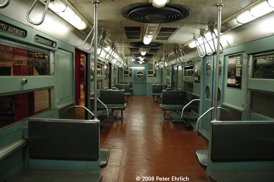 (206k, 930x618)<br><b>Country:</b> United States<br><b>City:</b> New York<br><b>System:</b> New York City Transit<br><b>Location:</b> New York Transit Museum<br><b>Car:</b> R-11 (Budd, 1949) 8013 <br><b>Photo by:</b> Peter Ehrlich<br><b>Date:</b> 9/30/2008<br><b>Notes:</b> Interior of R11 8013.<br><b>Viewed (this week/total):</b> 1 / 2522