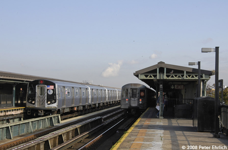 (154k, 930x611)<br><b>Country:</b> United States<br><b>City:</b> New York<br><b>System:</b> New York City Transit<br><b>Line:</b> BMT West End Line<br><b>Location:</b> 71st Street <br><b>Route:</b> M<br><b>Car:</b> R-160A-1 (Alstom, 2005-2008, 4 car sets)  8328 <br><b>Photo by:</b> Peter Ehrlich<br><b>Date:</b> 9/30/2008<br><b>Notes:</b> Outbound train.  With inbound R68s leaving.<br><b>Viewed (this week/total):</b> 0 / 1356