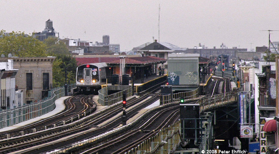 (213k, 930x512)<br><b>Country:</b> United States<br><b>City:</b> New York<br><b>System:</b> New York City Transit<br><b>Line:</b> BMT West End Line<br><b>Location:</b> 62nd Street <br><b>Route:</b> M<br><b>Car:</b> R-160A-1 (Alstom, 2005-2008, 4 car sets)  8336 <br><b>Photo by:</b> Peter Ehrlich<br><b>Date:</b> 9/30/2008<br><b>Notes:</b> Inbound train.  View from 55th Street.<br><b>Viewed (this week/total):</b> 1 / 2149