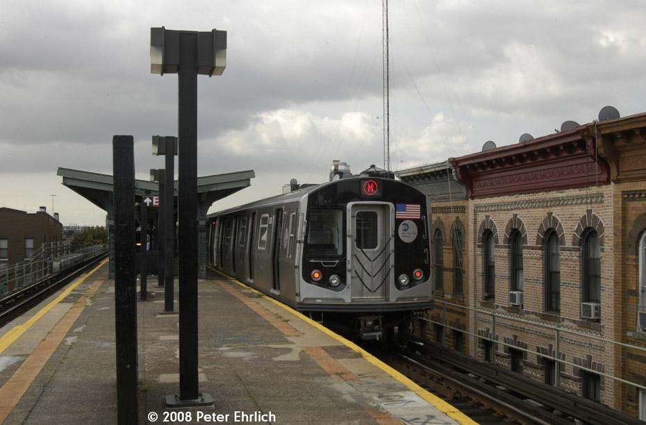 (173k, 930x612)<br><b>Country:</b> United States<br><b>City:</b> New York<br><b>System:</b> New York City Transit<br><b>Line:</b> BMT Myrtle Avenue Line<br><b>Location:</b> Seneca Avenue <br><b>Route:</b> M<br><b>Car:</b> R-160A-1 (Alstom, 2005-2008, 4 car sets)  8336 <br><b>Photo by:</b> Peter Ehrlich<br><b>Date:</b> 9/30/2008<br><b>Notes:</b> Inbound train.<br><b>Viewed (this week/total):</b> 1 / 1500