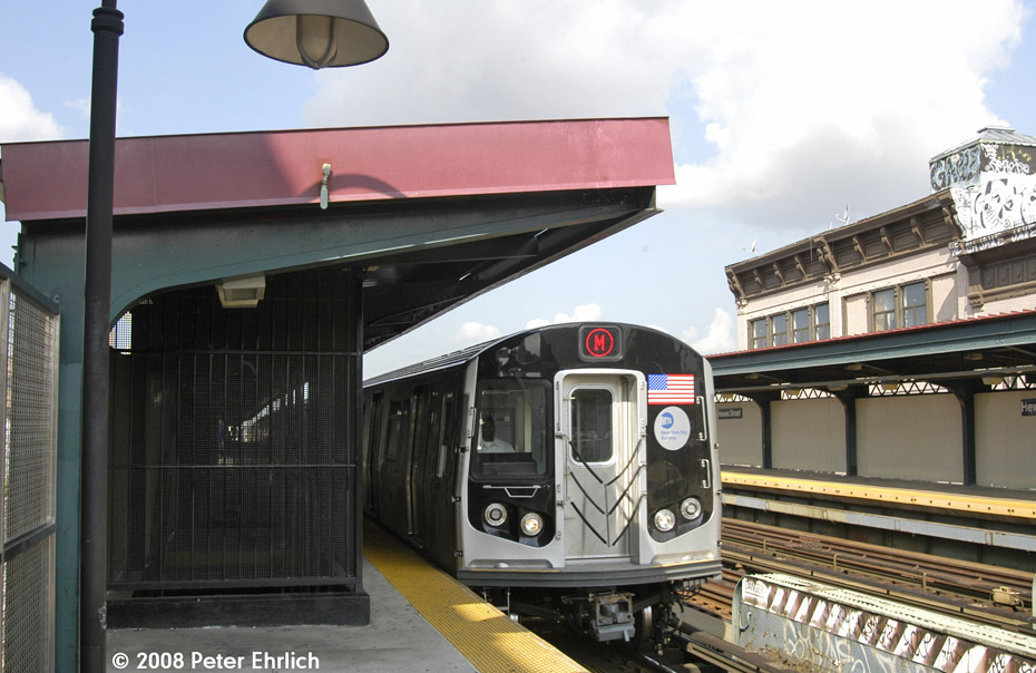 (191k, 930x604)<br><b>Country:</b> United States<br><b>City:</b> New York<br><b>System:</b> New York City Transit<br><b>Line:</b> BMT Nassau Street/Jamaica Line<br><b>Location:</b> Hewes Street <br><b>Route:</b> M<br><b>Car:</b> R-160A-1 (Alstom, 2005-2008, 4 car sets)  8365 <br><b>Photo by:</b> Peter Ehrlich<br><b>Date:</b> 9/30/2008<br><b>Notes:</b> Outbound train.<br><b>Viewed (this week/total):</b> 1 / 1278