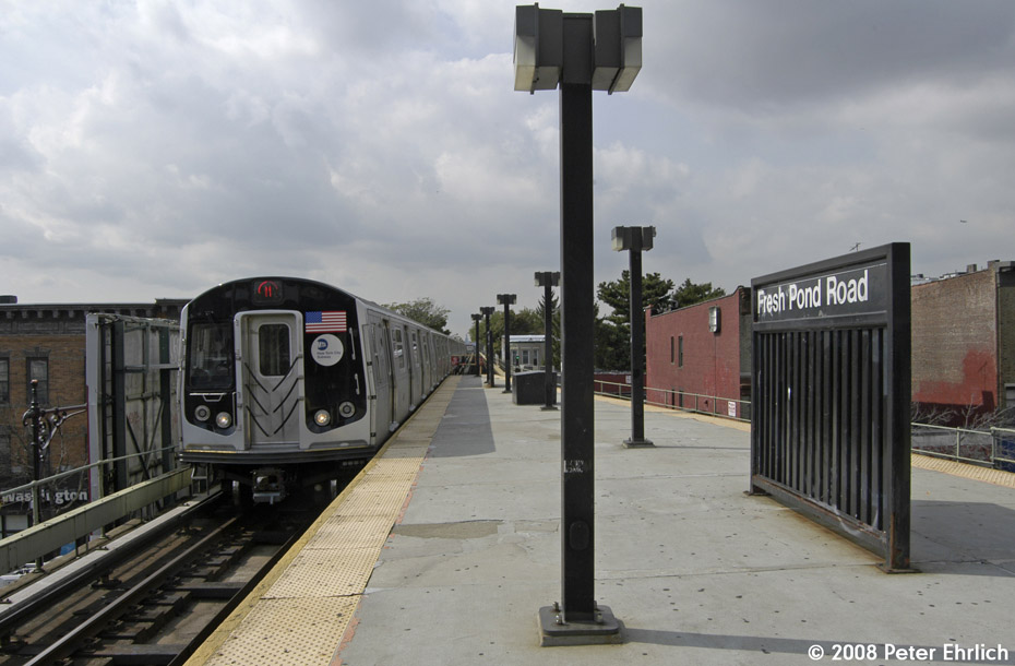 (161k, 930x610)<br><b>Country:</b> United States<br><b>City:</b> New York<br><b>System:</b> New York City Transit<br><b>Line:</b> BMT Myrtle Avenue Line<br><b>Location:</b> Fresh Pond Road <br><b>Route:</b> M<br><b>Car:</b> R-160A-1 (Alstom, 2005-2008, 4 car sets)  8417 <br><b>Photo by:</b> Peter Ehrlich<br><b>Date:</b> 9/30/2008<br><b>Notes:</b> Outbound train.<br><b>Viewed (this week/total):</b> 1 / 1724