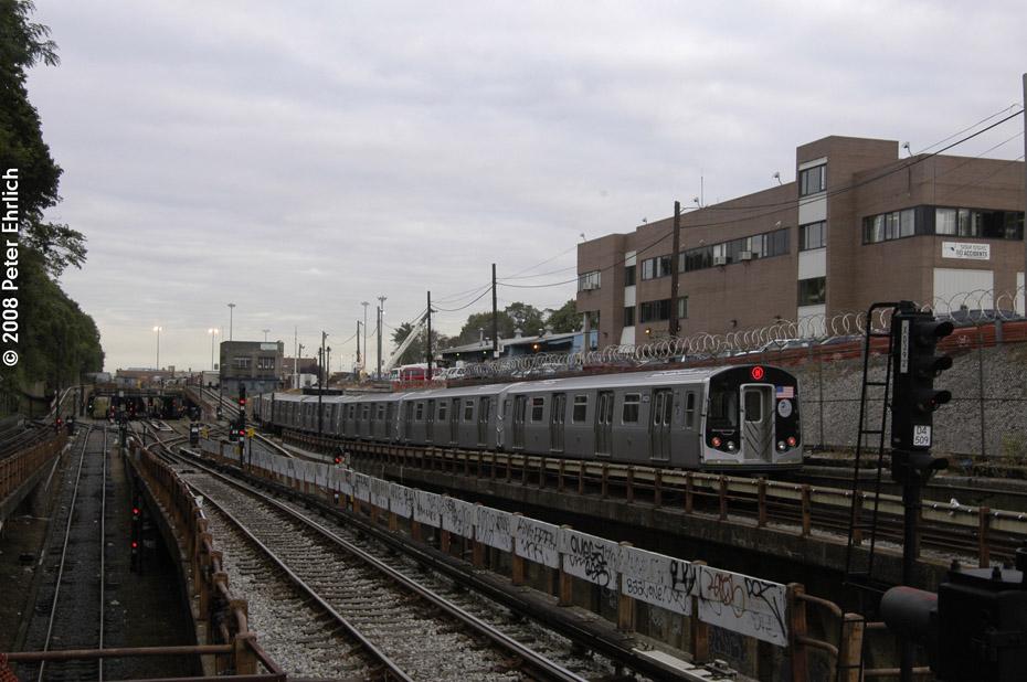 (186k, 930x618)<br><b>Country:</b> United States<br><b>City:</b> New York<br><b>System:</b> New York City Transit<br><b>Line:</b> BMT West End Line<br><b>Location:</b> 9th Avenue <br><b>Route:</b> M<br><b>Car:</b> R-160A-1 (Alstom, 2005-2008, 4 car sets)  8429 <br><b>Photo by:</b> Peter Ehrlich<br><b>Date:</b> 9/30/2008<br><b>Notes:</b> Inbound train.<br><b>Viewed (this week/total):</b> 3 / 1573