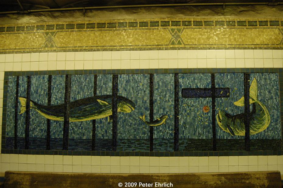 (261k, 930x618)<br><b>Country:</b> United States<br><b>City:</b> New York<br><b>System:</b> New York City Transit<br><b>Line:</b> IRT West Side Line<br><b>Location:</b> Houston Street <br><b>Route:</b> 1<br><b>Photo by:</b> Peter Ehrlich<br><b>Date:</b> 7/29/2009<br><b>Artwork:</b> <i>Platform Diving</i>, Deborah Brown (1994).<br><b>Viewed (this week/total):</b> 0 / 203