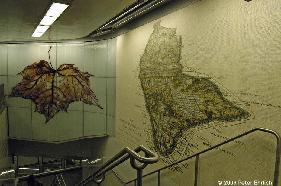 (247k, 930x618)<br><b>Country:</b> United States<br><b>City:</b> New York<br><b>System:</b> New York City Transit<br><b>Line:</b> IRT West Side Line<br><b>Location:</b> South Ferry (New Station) <br><b>Photo by:</b> Peter Ehrlich<br><b>Date:</b> 7/22/2009<br><b>Artwork:</b> <i>See It Split, See It Change</i>,  Doug Starn/Mike Starn (2007).<br><b>Viewed (this week/total):</b> 4 / 953