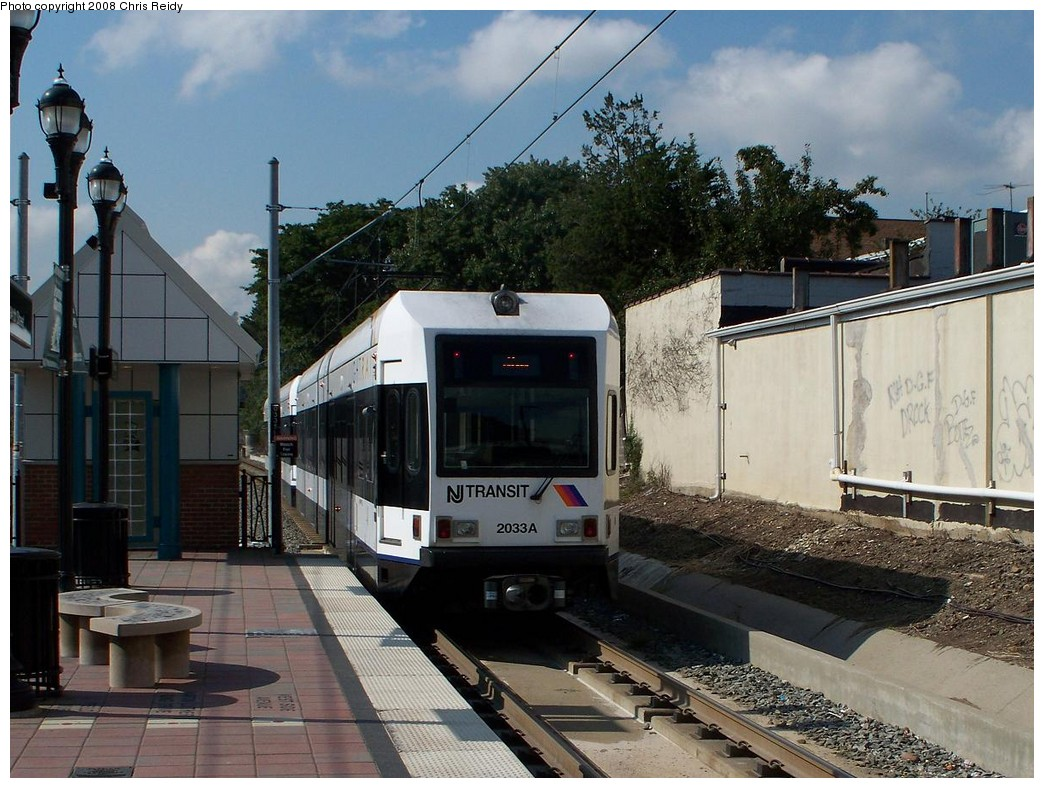 (238k, 1044x788)<br><b>Country:</b> United States<br><b>City:</b> Bayonne, NJ<br><b>System:</b> Hudson Bergen Light Rail<br><b>Location:</b> East 34th Street <br><b>Car:</b> NJT-HBLR LRV (Kinki-Sharyo, 1998-99)  2033 <br><b>Photo by:</b> Chris Reidy<br><b>Date:</b> 9/24/2008<br><b>Viewed (this week/total):</b> 1 / 730