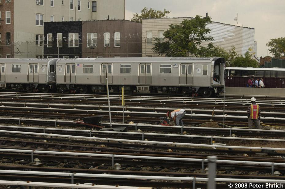 (219k, 930x618)<br><b>Country:</b> United States<br><b>City:</b> New York<br><b>System:</b> New York City Transit<br><b>Location:</b> Fresh Pond Yard<br><b>Car:</b> R-160A-1 (Alstom, 2005-2008, 4 car sets)  8449 <br><b>Photo by:</b> Peter Ehrlich<br><b>Date:</b> 9/30/2008<br><b>Viewed (this week/total):</b> 0 / 2505