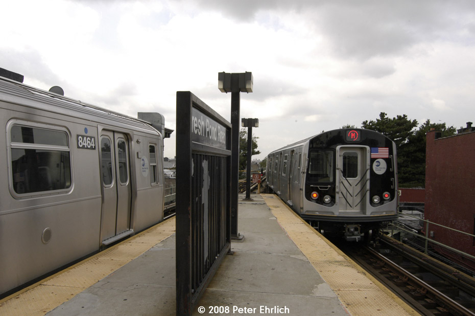 (152k, 930x618)<br><b>Country:</b> United States<br><b>City:</b> New York<br><b>System:</b> New York City Transit<br><b>Line:</b> BMT Myrtle Avenue Line<br><b>Location:</b> Fresh Pond Road <br><b>Route:</b> M<br><b>Car:</b> R-160A-1 (Alstom, 2005-2008, 4 car sets)  8464 <br><b>Photo by:</b> Peter Ehrlich<br><b>Date:</b> 9/30/2008<br><b>Notes:</b> Arriving outbound.  With 8625 leaving invound.<br><b>Viewed (this week/total):</b> 0 / 1988
