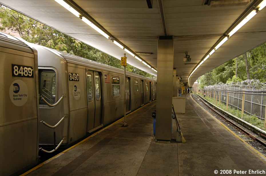 (219k, 930x618)<br><b>Country:</b> United States<br><b>City:</b> New York<br><b>System:</b> New York City Transit<br><b>Line:</b> BMT Myrtle Avenue Line<br><b>Location:</b> Metropolitan Avenue <br><b>Route:</b> M<br><b>Car:</b> R-160A-1 (Alstom, 2005-2008, 4 car sets)  8490 <br><b>Photo by:</b> Peter Ehrlich<br><b>Date:</b> 9/30/2008<br><b>Viewed (this week/total):</b> 1 / 2506