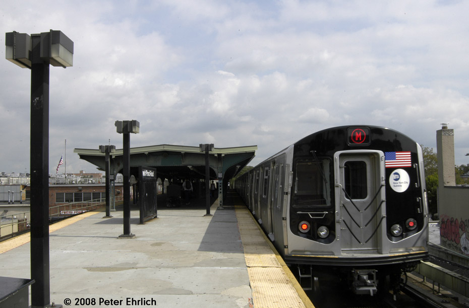 (150k, 930x612)<br><b>Country:</b> United States<br><b>City:</b> New York<br><b>System:</b> New York City Transit<br><b>Line:</b> BMT Myrtle Avenue Line<br><b>Location:</b> Fresh Pond Road <br><b>Route:</b> M<br><b>Car:</b> R-160A-1 (Alstom, 2005-2008, 4 car sets)  8573 <br><b>Photo by:</b> Peter Ehrlich<br><b>Date:</b> 9/30/2008<br><b>Notes:</b> Outbound train.<br><b>Viewed (this week/total):</b> 1 / 1836