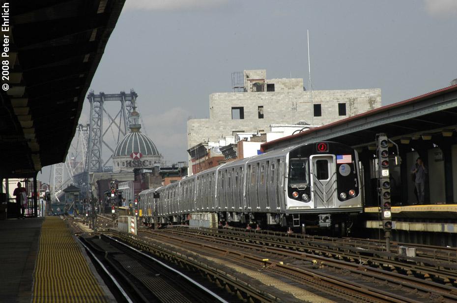 (192k, 930x618)<br><b>Country:</b> United States<br><b>City:</b> New York<br><b>System:</b> New York City Transit<br><b>Line:</b> BMT Nassau Street/Jamaica Line<br><b>Location:</b> Hewes Street <br><b>Route:</b> J<br><b>Car:</b> R-160A-1 (Alstom, 2005-2008, 4 car sets)  8649 <br><b>Photo by:</b> Peter Ehrlich<br><b>Date:</b> 9/30/2008<br><b>Notes:</b> Inbound train.<br><b>Viewed (this week/total):</b> 0 / 1201
