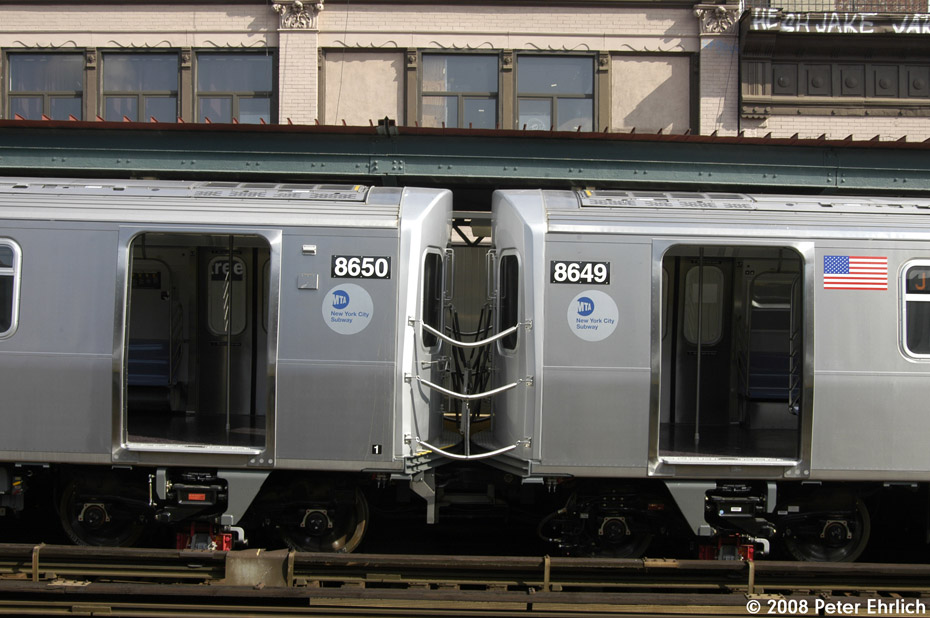 (188k, 930x618)<br><b>Country:</b> United States<br><b>City:</b> New York<br><b>System:</b> New York City Transit<br><b>Line:</b> BMT Nassau Street/Jamaica Line<br><b>Location:</b> Hewes Street <br><b>Route:</b> Testing<br><b>Car:</b> R-160A-1 (Alstom, 2005-2008, 4 car sets)  8650 <br><b>Photo by:</b> Peter Ehrlich<br><b>Date:</b> 9/30/2008<br><b>Notes:</b> Test R160 train.<br><b>Viewed (this week/total):</b> 0 / 1946