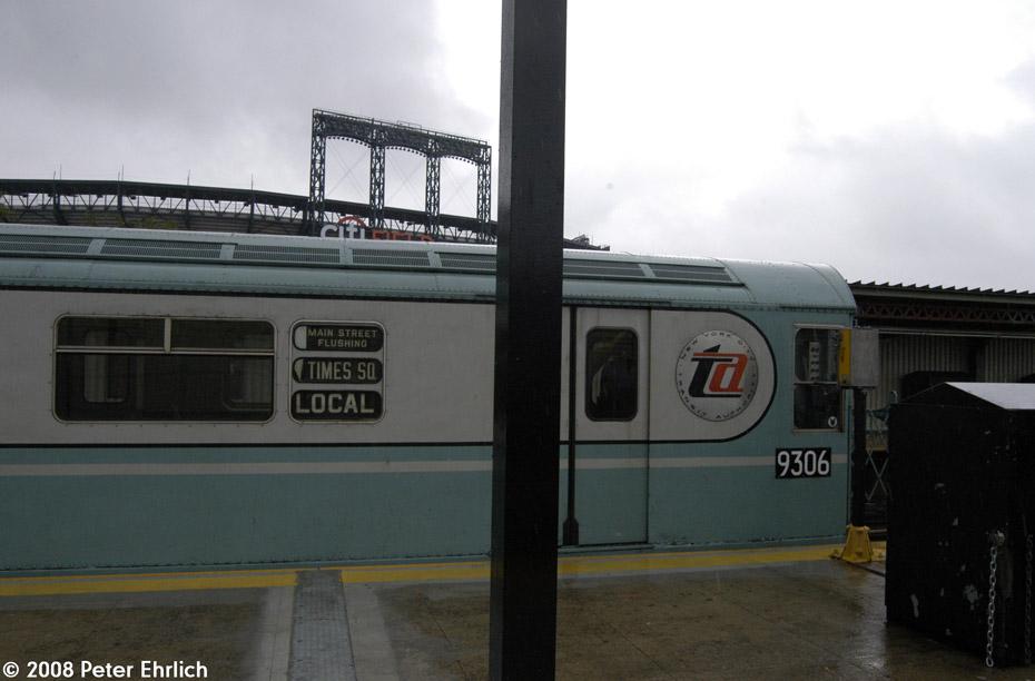 (140k, 930x612)<br><b>Country:</b> United States<br><b>City:</b> New York<br><b>System:</b> New York City Transit<br><b>Line:</b> IRT Flushing Line<br><b>Location:</b> Willets Point/Mets (fmr. Shea Stadium) <br><b>Route:</b> Museum Train Service (7)<br><b>Car:</b> R-33 World's Fair (St. Louis, 1963-64) 9306 <br><b>Photo by:</b> Peter Ehrlich<br><b>Date:</b> 9/28/2008<br><b>Viewed (this week/total):</b> 0 / 1334