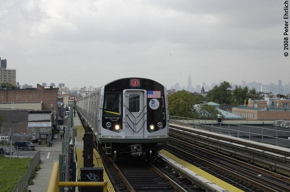 (169k, 930x618)<br><b>Country:</b> United States<br><b>City:</b> New York<br><b>System:</b> New York City Transit<br><b>Line:</b> BMT Nassau Street/Jamaica Line<br><b>Location:</b> Chauncey Street <br><b>Route:</b> J<br><b>Car:</b> R-160A-1 (Alstom, 2005-2008, 4 car sets)   <br><b>Photo by:</b> Peter Ehrlich<br><b>Date:</b> 9/30/2008<br><b>Notes:</b> Outbound train.<br><b>Viewed (this week/total):</b> 0 / 1937