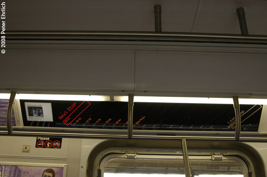 (143k, 930x618)<br><b>Country:</b> United States<br><b>City:</b> New York<br><b>System:</b> New York City Transit<br><b>Route:</b> M<br><b>Car:</b> R-160A-1 (Alstom, 2005-2008, 4 car sets)  Interior <br><b>Photo by:</b> Peter Ehrlich<br><b>Date:</b> 9/30/2008<br><b>Notes:</b> R160 line maps.<br><b>Viewed (this week/total):</b> 0 / 1441