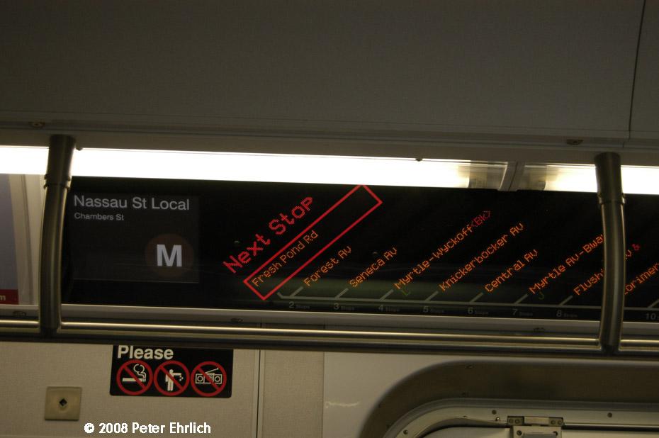 (139k, 930x618)<br><b>Country:</b> United States<br><b>City:</b> New York<br><b>System:</b> New York City Transit<br><b>Route:</b> M<br><b>Car:</b> R-160A-1 (Alstom, 2005-2008, 4 car sets)  Interior <br><b>Photo by:</b> Peter Ehrlich<br><b>Date:</b> 9/30/2008<br><b>Notes:</b> R160 line maps.<br><b>Viewed (this week/total):</b> 0 / 1673
