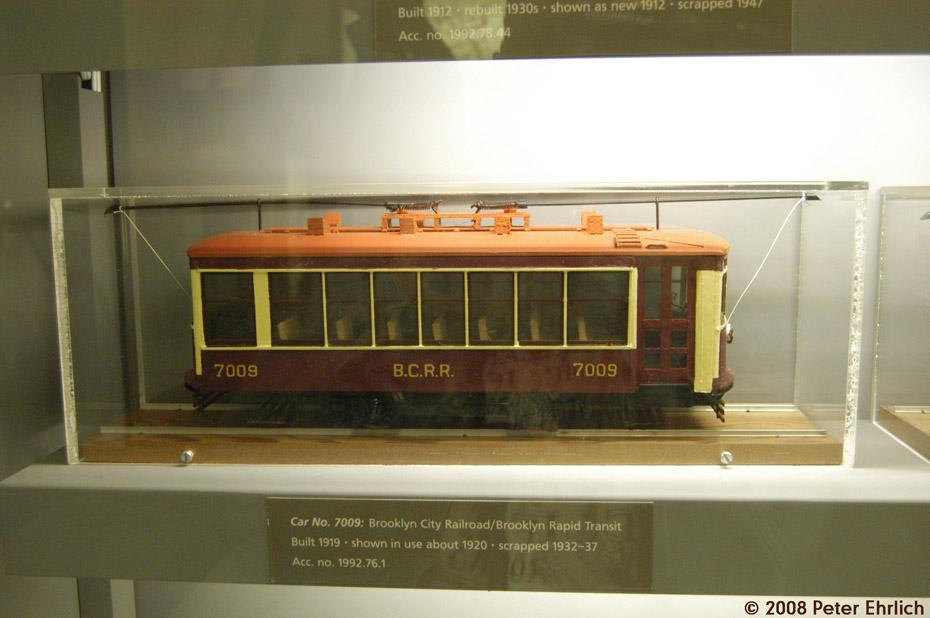 (156k, 930x618)<br><b>Country:</b> United States<br><b>City:</b> New York<br><b>System:</b> New York City Transit<br><b>Location:</b> New York Transit Museum<br><b>Photo by:</b> Peter Ehrlich<br><b>Date:</b> 9/30/2008<br><b>Notes:</b> Brooklyn Birney Safety Car model.<br><b>Viewed (this week/total):</b> 0 / 1642