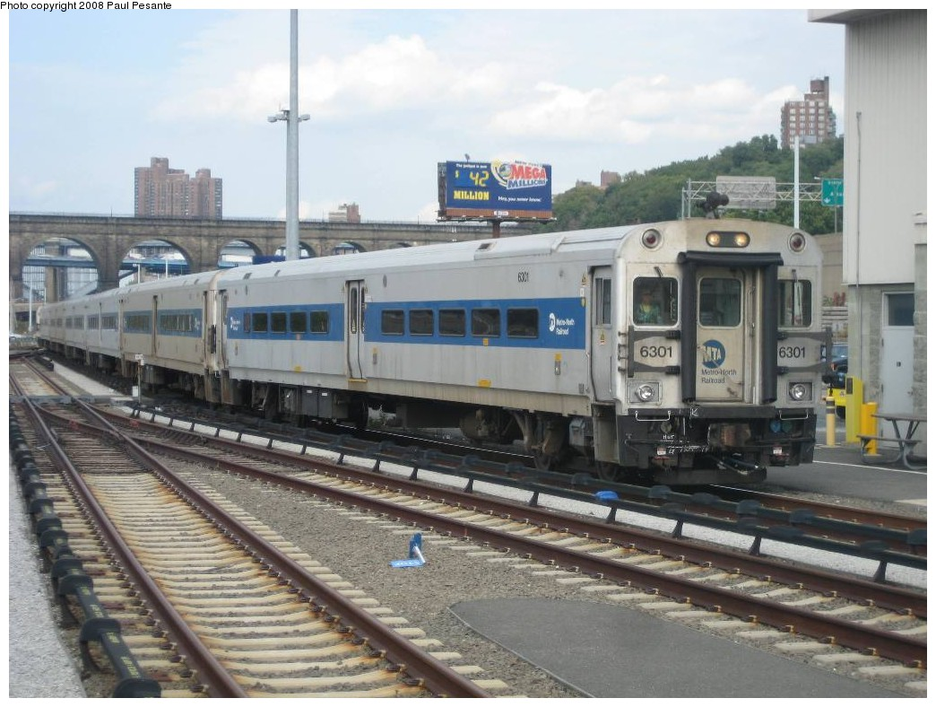(202k, 1044x788)<br><b>Country:</b> United States<br><b>City:</b> New York<br><b>System:</b> Metro-North Railroad (or Amtrak or Predecessor RR)<br><b>Line:</b> Metro North-Hudson Line<br><b>Location:</b> High Bridge <br><b>Car:</b> MNRR/CDOT Shoreliner (Bombardier) 6301 <br><b>Photo by:</b> Paul Pesante<br><b>Date:</b> 10/1/2008<br><b>Notes:</b> The south end of Deadhead Train # 2004 with Bombardier Shoreliner II Cab Car # 6301 shoves north from Track 14 North. The photographer is a railroad employee on railroad property with permission, and would like to remind everyone to keep railfanning legal and safe- Do not enter restricted areas!<br><b>Viewed (this week/total):</b> 3 / 1512