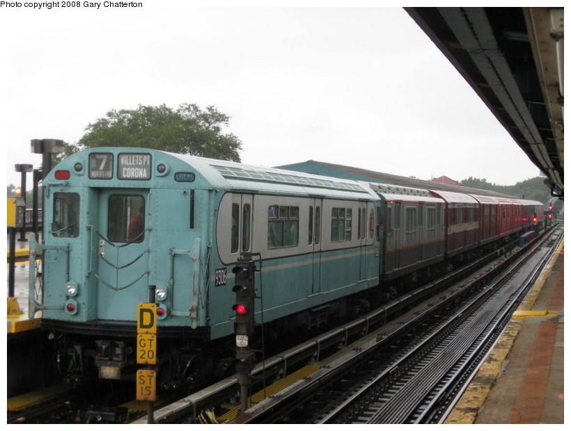 (119k, 820x620)<br><b>Country:</b> United States<br><b>City:</b> New York<br><b>System:</b> New York City Transit<br><b>Line:</b> IRT Flushing Line<br><b>Location:</b> Willets Point/Mets (fmr. Shea Stadium) <br><b>Route:</b> Museum Train Service (7)<br><b>Car:</b> R-33 World's Fair (St. Louis, 1963-64) 9306 <br><b>Photo by:</b> Gary Chatterton<br><b>Date:</b> 9/28/2008<br><b>Viewed (this week/total):</b> 2 / 1157