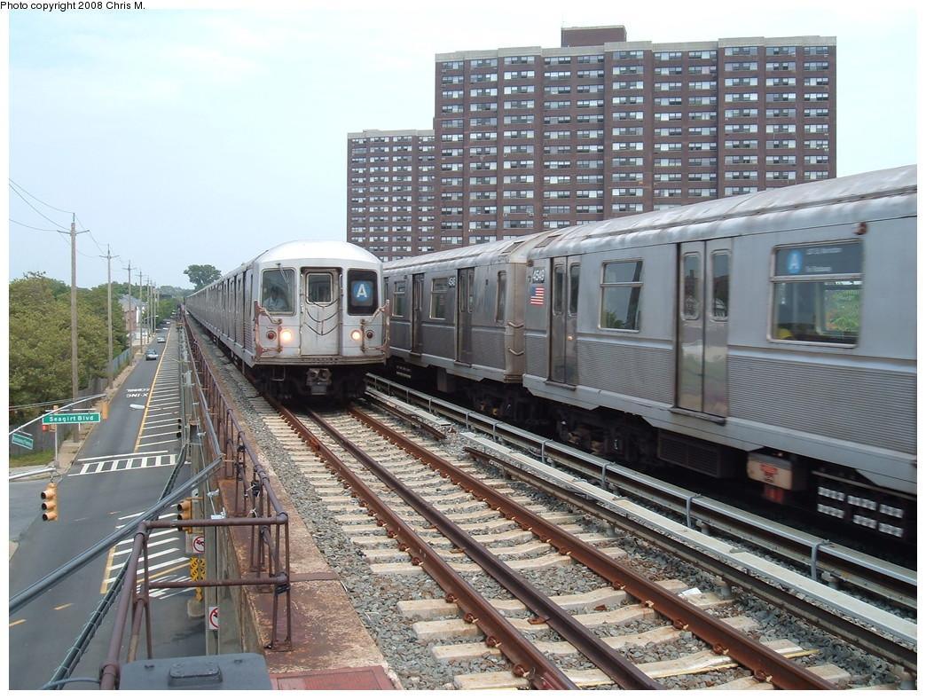 (275k, 1044x788)<br><b>Country:</b> United States<br><b>City:</b> New York<br><b>System:</b> New York City Transit<br><b>Line:</b> IND Rockaway<br><b>Location:</b> Beach 36th Street/Edgemere <br><b>Route:</b> A<br><b>Car:</b> R-42 (St. Louis, 1969-1970)   <br><b>Photo by:</b> Chris M.<br><b>Date:</b> 7/22/2008<br><b>Notes:</b> With R40M 4549 on A<br><b>Viewed (this week/total):</b> 0 / 2286