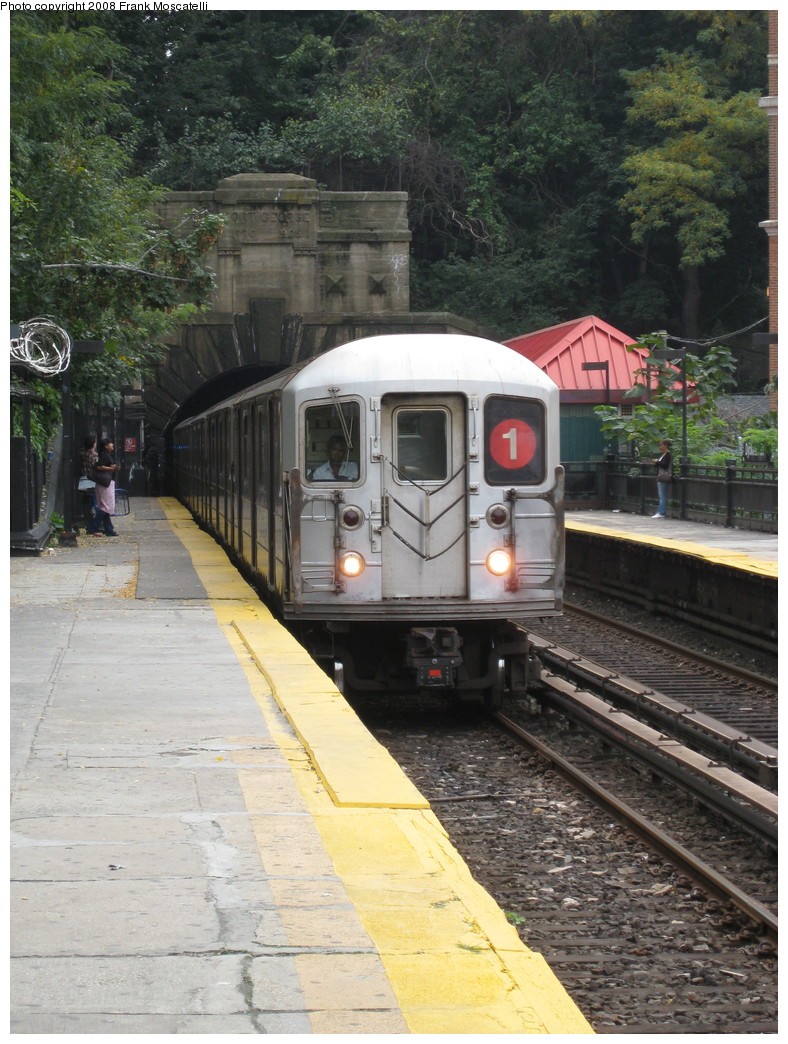 (259k, 788x1044)<br><b>Country:</b> United States<br><b>City:</b> New York<br><b>System:</b> New York City Transit<br><b>Line:</b> IRT West Side Line<br><b>Location:</b> Dyckman Street <br><b>Route:</b> 1<br><b>Car:</b> R-62A (Bombardier, 1984-1987)   <br><b>Photo by:</b> Frank Moscatelli<br><b>Date:</b> 10/16/2008<br><b>Viewed (this week/total):</b> 0 / 1642