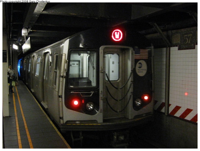 (120k, 820x620)<br><b>Country:</b> United States<br><b>City:</b> New York<br><b>System:</b> New York City Transit<br><b>Line:</b> BMT Broadway Line<br><b>Location:</b> 57th Street <br><b>Route:</b> W<br><b>Car:</b> R-160A-2 (Alstom, 2005-2008, 5 car sets)  8653 <br><b>Photo by:</b> Gary Chatterton<br><b>Date:</b> 10/9/2008<br><b>Viewed (this week/total):</b> 2 / 2537