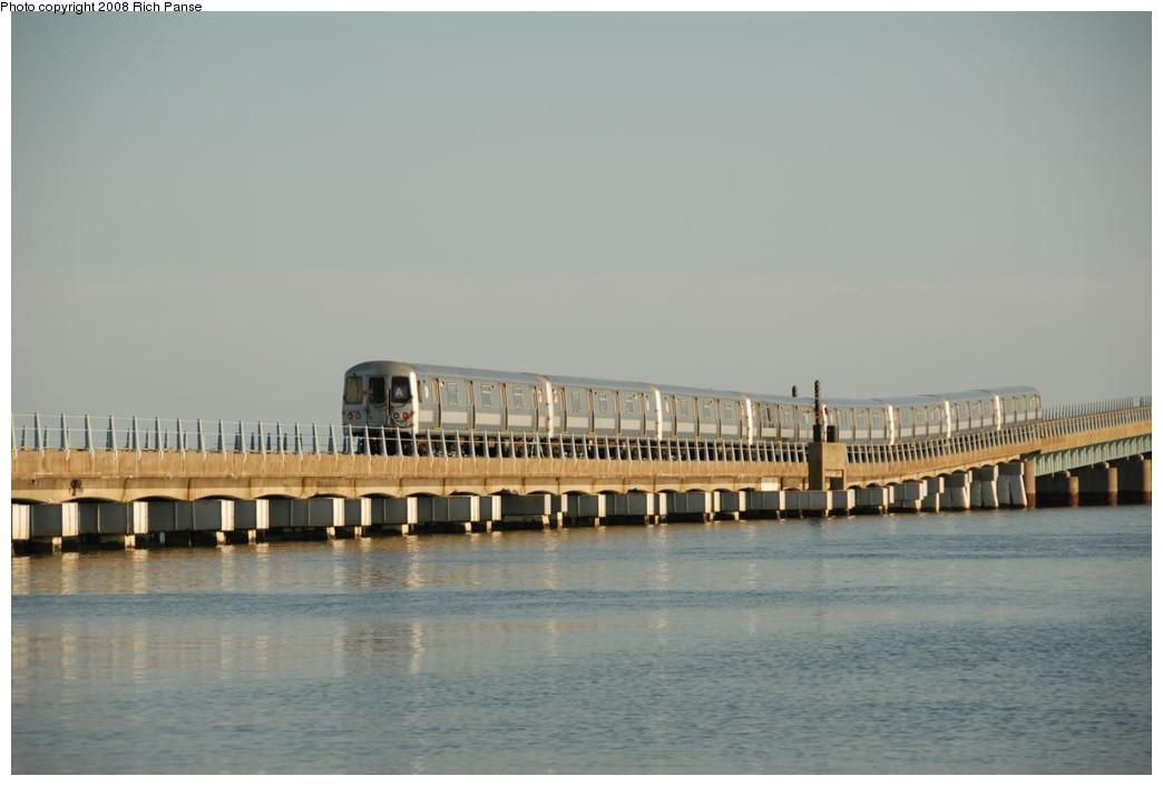 (142k, 1044x706)<br><b>Country:</b> United States<br><b>City:</b> New York<br><b>System:</b> New York City Transit<br><b>Line:</b> IND Rockaway<br><b>Location:</b> North Channel Bridge <br><b>Route:</b> A<br><b>Car:</b> R-44 (St. Louis, 1971-73) 5416 <br><b>Photo by:</b> Richard Panse<br><b>Date:</b> 9/23/2008<br><b>Viewed (this week/total):</b> 0 / 1300
