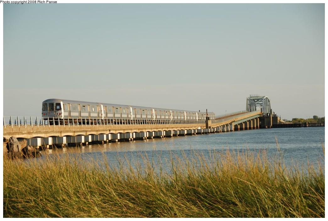(198k, 1044x706)<br><b>Country:</b> United States<br><b>City:</b> New York<br><b>System:</b> New York City Transit<br><b>Line:</b> IND Rockaway<br><b>Location:</b> North Channel Bridge <br><b>Route:</b> A<br><b>Car:</b> R-44 (St. Louis, 1971-73) 5340 <br><b>Photo by:</b> Richard Panse<br><b>Date:</b> 9/23/2008<br><b>Viewed (this week/total):</b> 0 / 1385