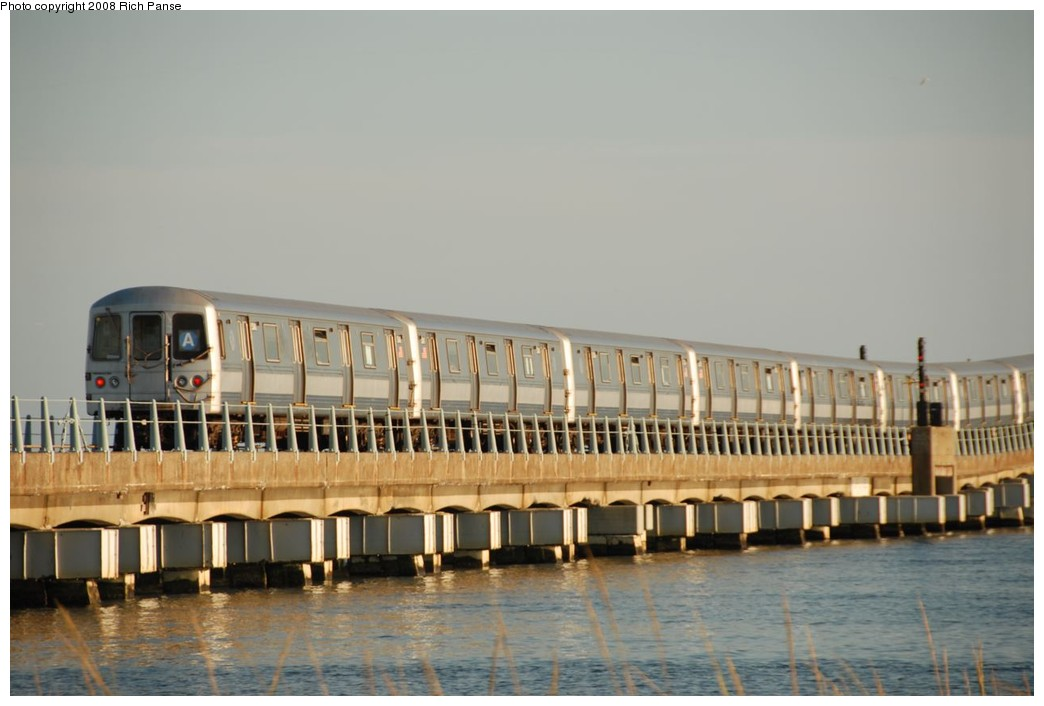 (162k, 1044x706)<br><b>Country:</b> United States<br><b>City:</b> New York<br><b>System:</b> New York City Transit<br><b>Line:</b> IND Rockaway<br><b>Location:</b> North Channel Bridge <br><b>Route:</b> A<br><b>Car:</b> R-44 (St. Louis, 1971-73) 5340 <br><b>Photo by:</b> Richard Panse<br><b>Date:</b> 9/23/2008<br><b>Viewed (this week/total):</b> 2 / 1373