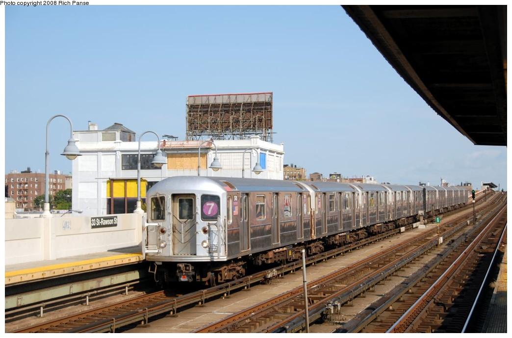 (165k, 1044x690)<br><b>Country:</b> United States<br><b>City:</b> New York<br><b>System:</b> New York City Transit<br><b>Line:</b> IRT Flushing Line<br><b>Location:</b> 33rd Street/Rawson Street <br><b>Route:</b> 7<br><b>Car:</b> R-62A (Bombardier, 1984-1987)  1741 <br><b>Photo by:</b> Richard Panse<br><b>Date:</b> 9/24/2008<br><b>Viewed (this week/total):</b> 2 / 1175