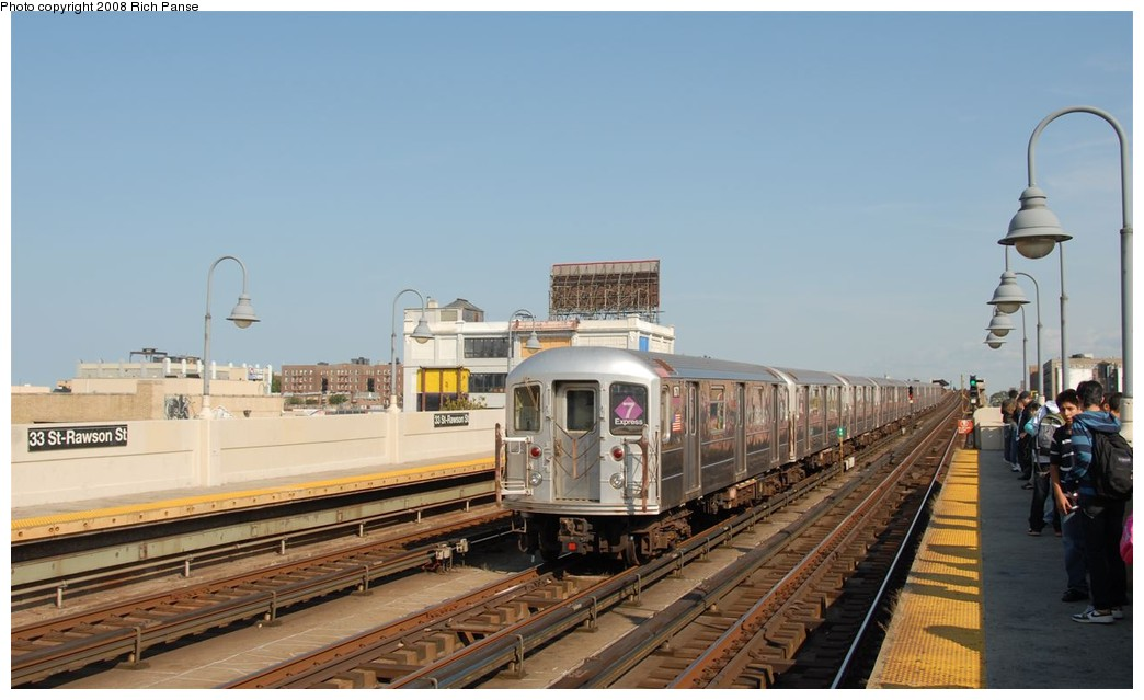 (143k, 1044x639)<br><b>Country:</b> United States<br><b>City:</b> New York<br><b>System:</b> New York City Transit<br><b>Line:</b> IRT Flushing Line<br><b>Location:</b> 33rd Street/Rawson Street<br><b>Route:</b> 7<br><b>Car:</b> R-62A (Bombardier, 1984-1987) 1671 <br><b>Photo by:</b> Richard Panse<br><b>Date:</b> 9/24/2008<br><b>Viewed (this week/total):</b> 1 / 1603