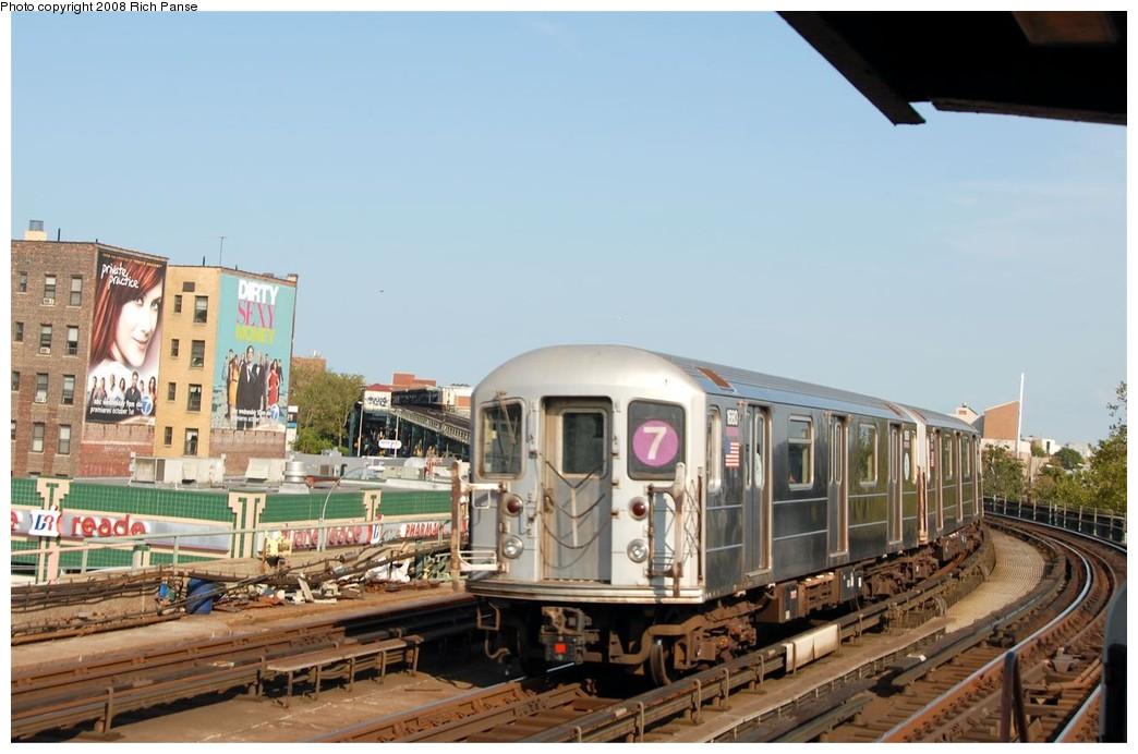 (164k, 1044x692)<br><b>Country:</b> United States<br><b>City:</b> New York<br><b>System:</b> New York City Transit<br><b>Line:</b> IRT Flushing Line<br><b>Location:</b> 33rd Street/Rawson Street <br><b>Route:</b> 7<br><b>Car:</b> R-62A (Bombardier, 1984-1987)  1680 <br><b>Photo by:</b> Richard Panse<br><b>Date:</b> 9/24/2008<br><b>Viewed (this week/total):</b> 0 / 1219