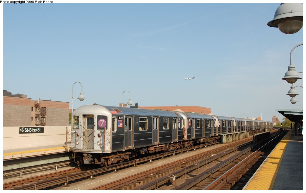 (138k, 1044x658)<br><b>Country:</b> United States<br><b>City:</b> New York<br><b>System:</b> New York City Transit<br><b>Line:</b> IRT Flushing Line<br><b>Location:</b> 46th Street/Bliss Street <br><b>Route:</b> 7<br><b>Car:</b> R-62A (Bombardier, 1984-1987)  1831 <br><b>Photo by:</b> Richard Panse<br><b>Date:</b> 9/24/2008<br><b>Viewed (this week/total):</b> 0 / 1141
